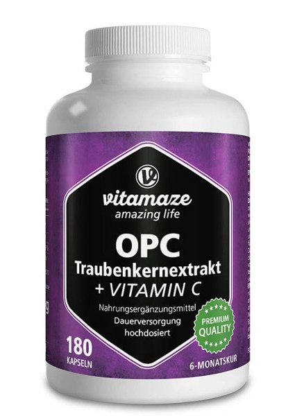 OPC grape seed extract high strength + vitamin C, 180 capsules