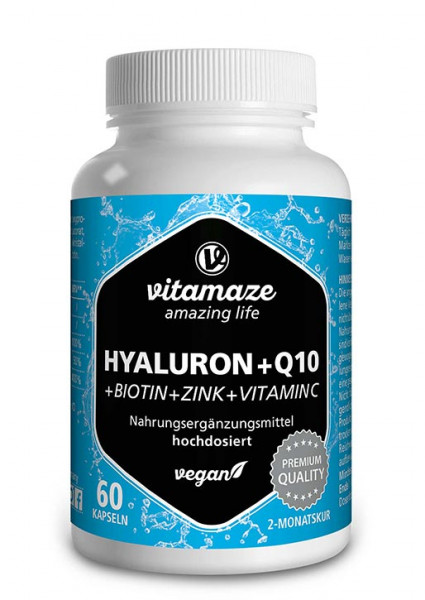 Hyaluronic acid + coenzyme Q10 high strength, 60 vegan capsules