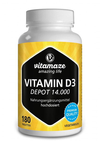 Vitamin D3 14 000 IU Depot high strength, 180 vegetarian tablets