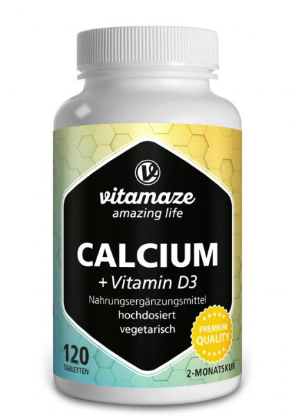 Calcium 600 mg + Vitamin D3 400 IE Tagesdosis, 120 vegetarische Tabletten