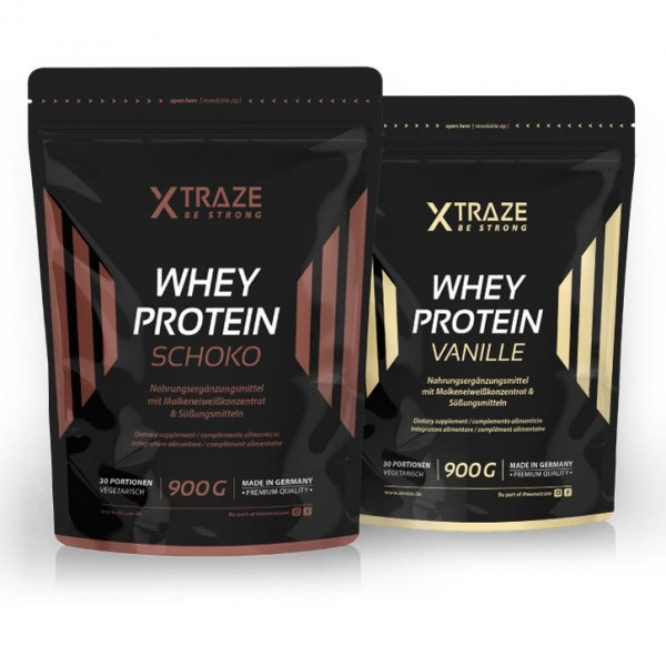 WHEY protein powder with a chocolate or vanilla flavour, 900 g