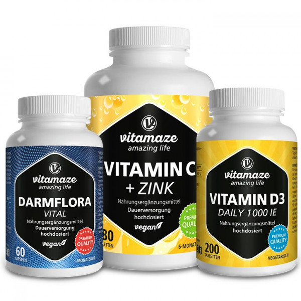 Immune Package with Vitamin C + Zinc, Vitamin D3 & Intestinal flora