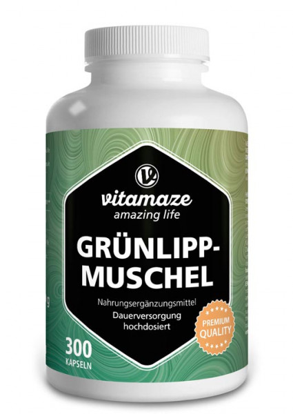 Green Lipped Mussel Powder 500 mg high strength, 300 capsules
