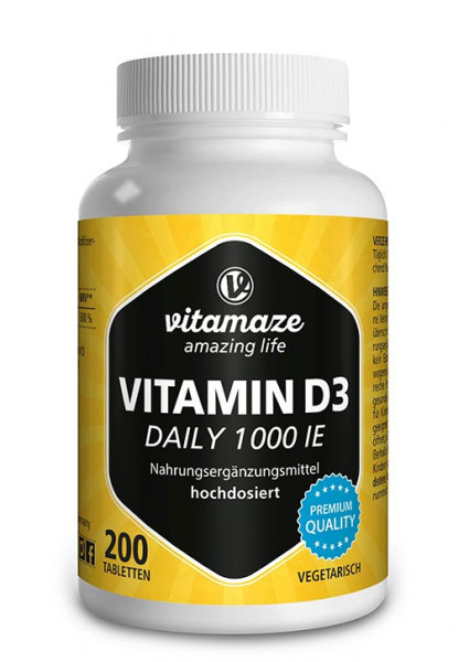 Vitamin D3 1.000 IE Daily hochdosiert, 200 Tabletten