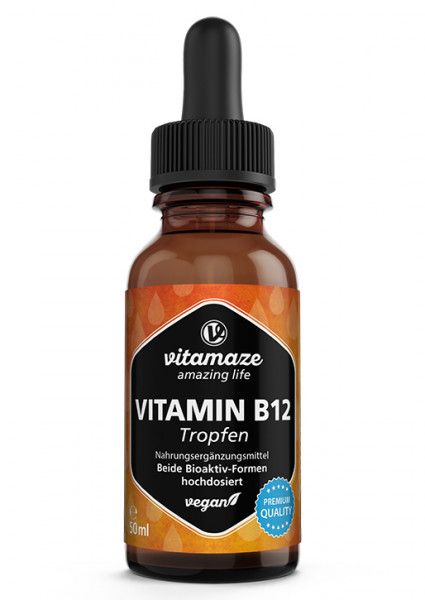Vitamin B12 Drops 100 µg per drops vegan, 50 ml